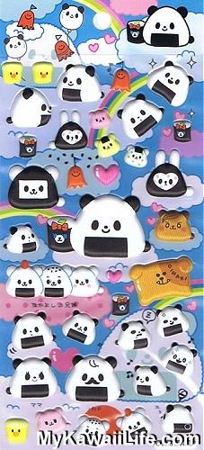 Sanrio Character Stickers - Panda Onigiri