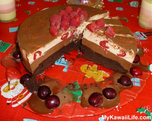 Christmas Chocolate & Raspberry Mousse Cake