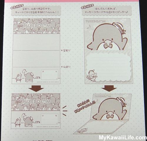 Tuxedo Sam Sanrio Memo Pad Instructions