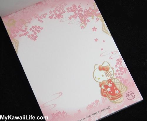 Hello Kitty Kimono Memo Pad - Pink Cherry Blossoms