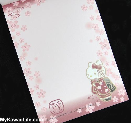 Hello Kitty Kimono Memo Pad - Maroon Cherry Blossoms